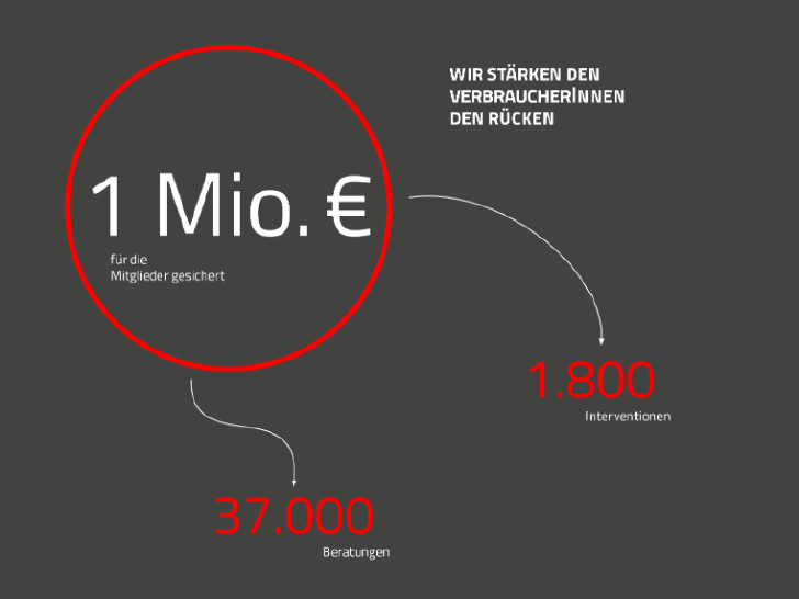 1 Million 2016 im Konsumentenschutz erkämpft. © Rauch-Gessl